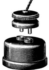 Early GEC 2 pin plug and socket as depicted in the 1893 GEC Catalogue